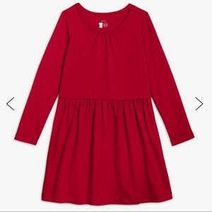 Primary Basic Long sleeve red dress. 100% cotton